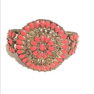 Southwestern SilverTone and Coral Cuff Bracelet